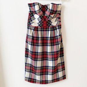 NWT Ivy Intermix Wool Plaid Strapless Dress